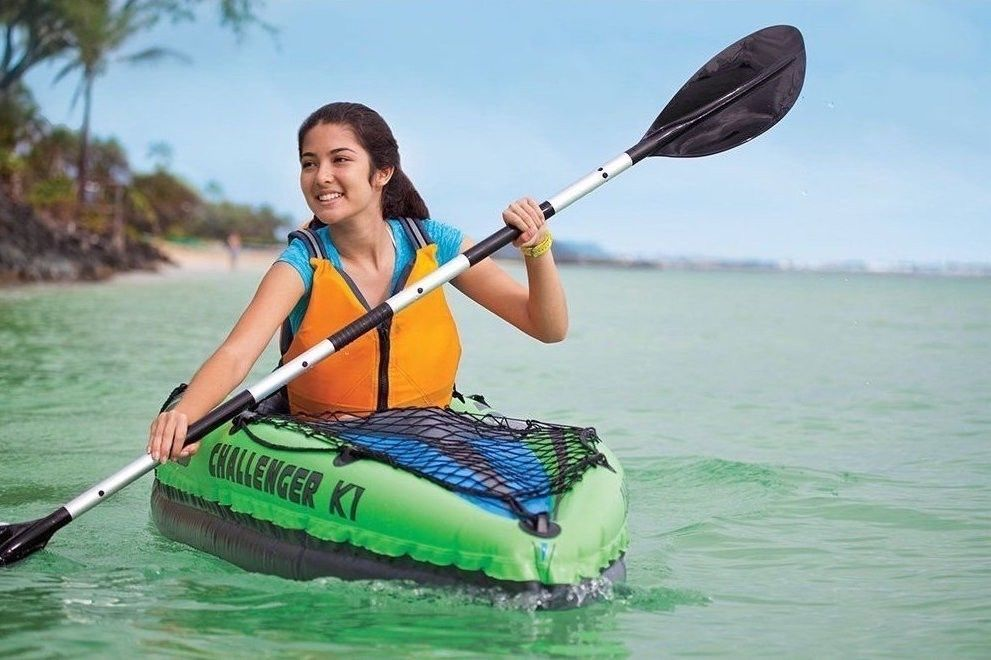 Inflatable Kayak Canoe Fishing Boat Set Oars Air Pump 1 Person Water Recreation