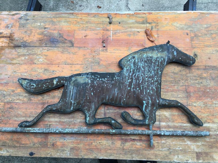 20TH CENTURY WEATHERED COPPER HORSE WEATHERVANE