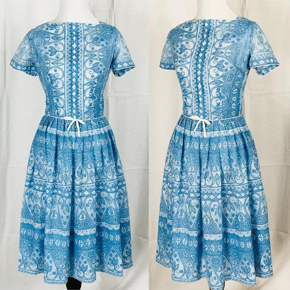 Vintage 1960's Blue and White Printed L'Aiglon Dress