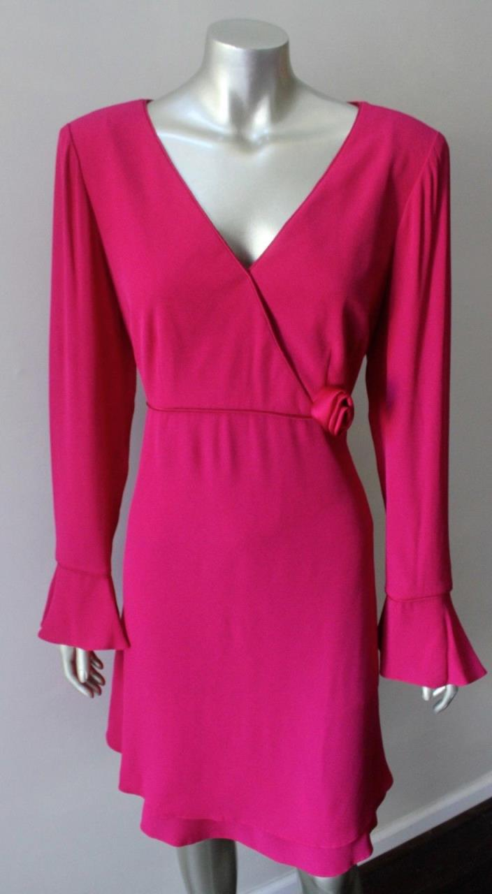 Plunging Crepe Vintage 90s Magenta Pink Wrap Mini Cocktail Wedding Party Dress M