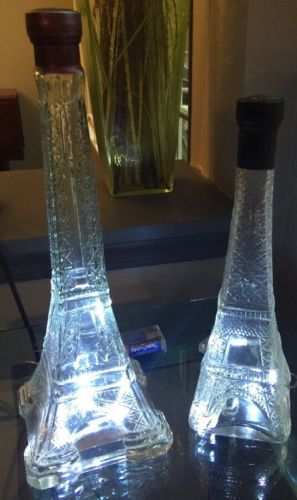 Pair Eiffel Tower Bottles w/Lights Corks Present, Unique & Beautiful Clear Glass