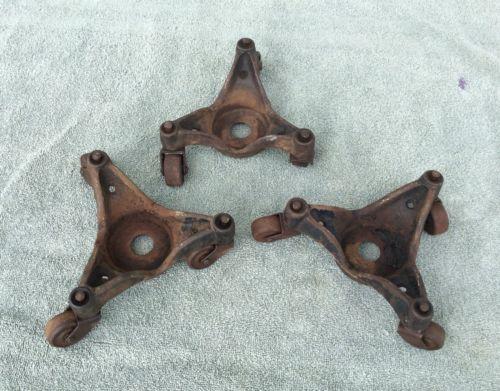 Vintage industrial steel Three Wheeled casters