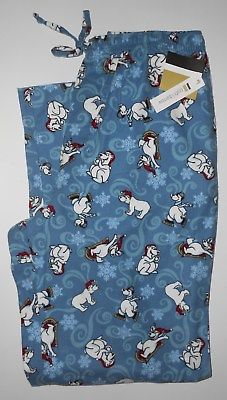 Croft & Barrow Blue Whimsical Polar Bears Flannel PJ Lounge Pants Size M NWT!