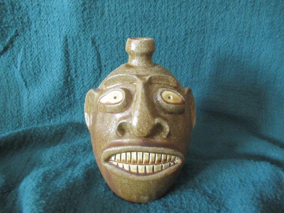 RANDY TOBIAS TOBACCO SPIT FACE JUG NORTH CAROLINA FOLK POTTERY