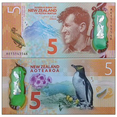NEW ZEALAND  5 DOLLAR, 2015/2016, POLYMER, UNCIRCULATED NOTE Free Shipping