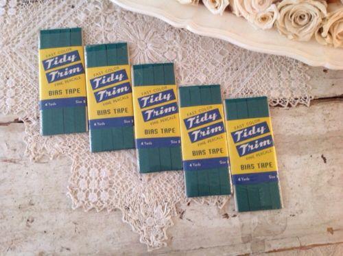 Vintage Lot of 5 Tidy Trim Bias Tape Kelly Green