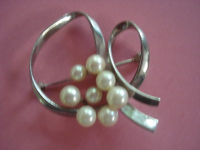 MIKIMOTO PEARL BROOCH PIN STERLING SILVER PEARL CLUSTER GORGEOUS