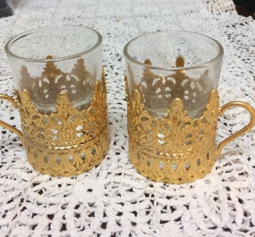 2 Indonesia Royal Glass Coffee Cups In Gold Metal Holders EUC