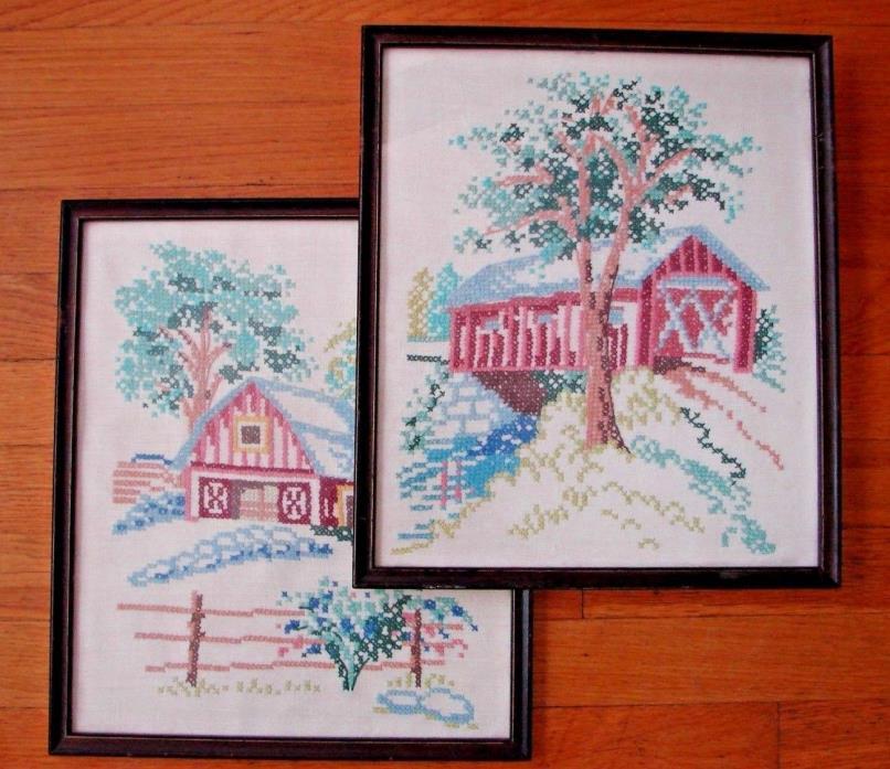 VINTAGE CROSS STITCH BARN FARMHOUSE WALL DECOR HANGINGS ART