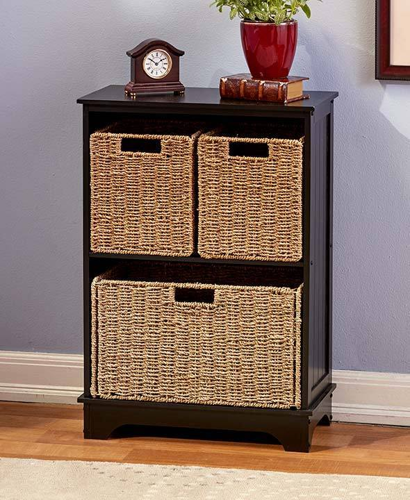 NEW! Traditional Shelving Cabinets or Baskets, Any Room, Organization, Seagrass