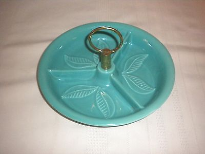 CALIFORNIA POTTERY USA T 25 BLUE RELISH DISH TRAY W/HANDLE