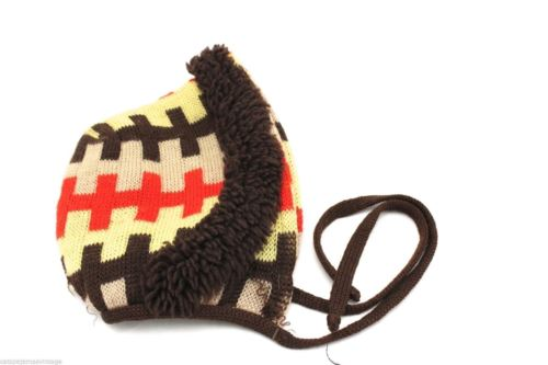VTG Womens Mens Boys Hat 1950s Wool Winter Knit Cool Pattern Brown Red Yellow