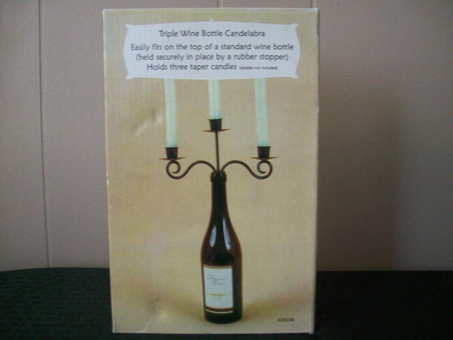 Dennis East Wine Bottle Triple Arm Candleabra