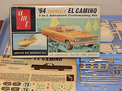Vintage AMT 1964 Chevy El Camino with Westcraft Boat Kit