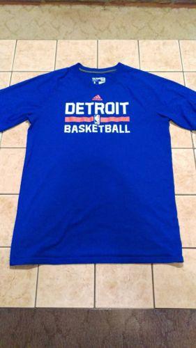 Detroit Pistons Blue Shooting Warm Up Shirt Player Worn NBA Ultimate Tee sz LT