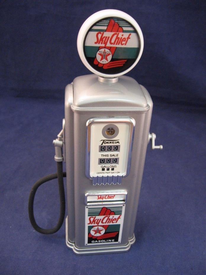 rmk99 Tokheim Gearbox Die Cast Texaco Skychief 1950 Globe Gas Pump Coin Bank NIB
