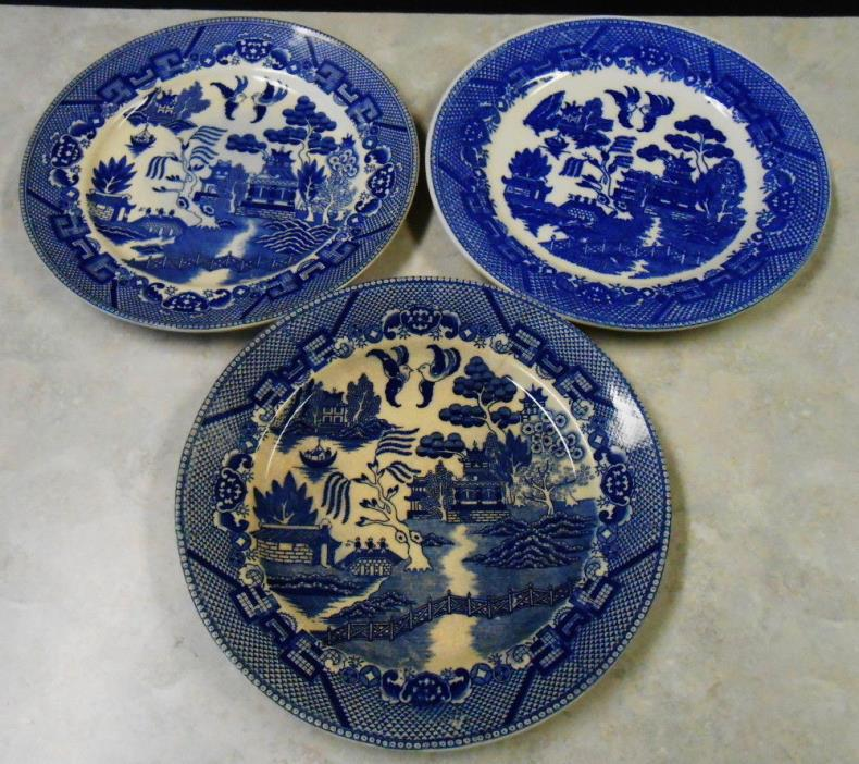 3 BLUE WILLOW PLATE MADE IN OCUPIED JAPAN & JAPAN 9 1/4