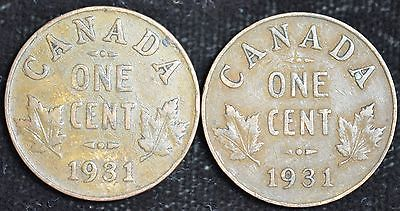 Two 1931 Canada, Penny, One Cent, Good to Very Good, Free Ship, C3615
