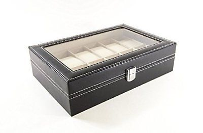Science Purchase Watch Box Large 12 Mens Black Leather Display Glass Top J..