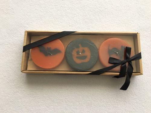 Crate & Barrel Floating Halloween Candles New In Box Set Of 3 Pumpkin Cat Bat