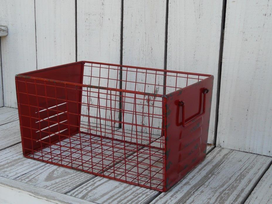 Industrial style locker room large metal basket with handles wire storage red