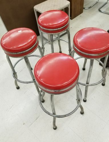 Set of 4 Vintage Cosco Bar/Diner/Ice Cream Parlor STOOLS - Red w/Chrome,Swivel