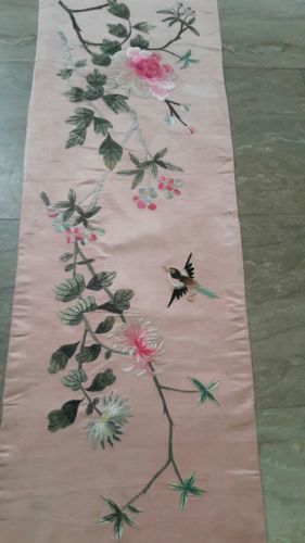ANTIQUE  CHINESE SILK EMBROIDERY PANEL OF MULTICOLOR FLOWERS BIRDS