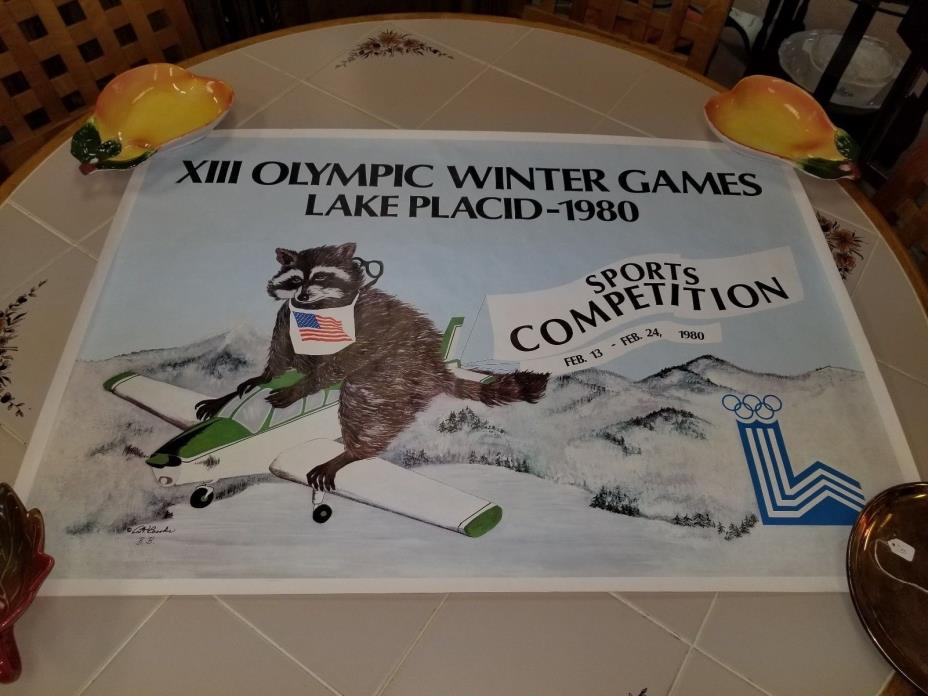 1980 LAKE PLACID OLYMPICS Rare Orig Vtg Poster Roni Raccoon 35x24.5in  BT brooks