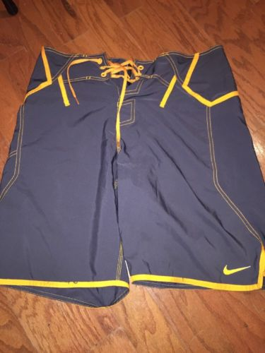 Nike Gray/Neon Orange Swim Trunks 32