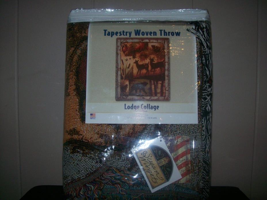 Lodge Collage ~ Wildlife Bear Deer Silhouette Tapestry Afghan Throw