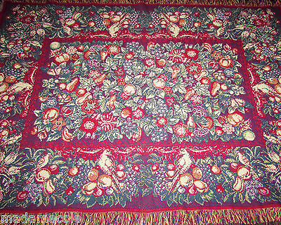 VTG  100% COTON THE RUG BARN  FRINGED BLANKET/THROW  MADE IN USA  50