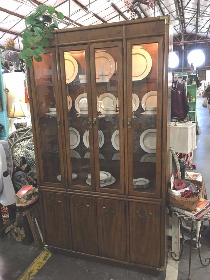 Drexel Mid-Century Lighted China Cabinet with Eight Doors
