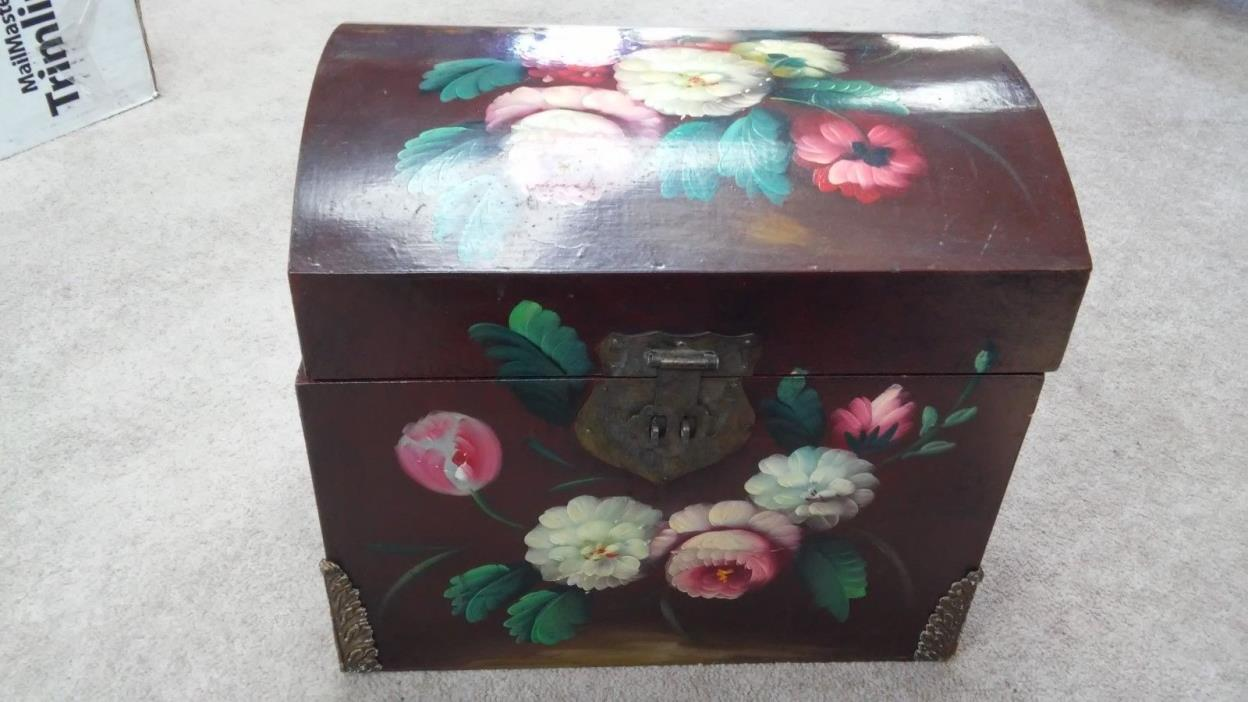 Hand Painted Lovely Floral Scene Wooden Trunk Storage Chest Home Decor Furniture