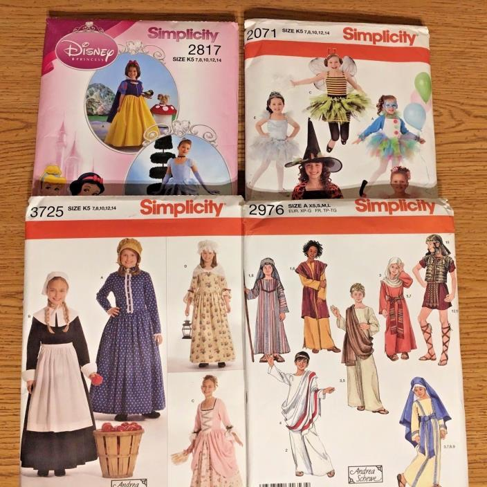 Lot of 4 Simplicity Sewing Patterns  Children's Costumes size 7-14