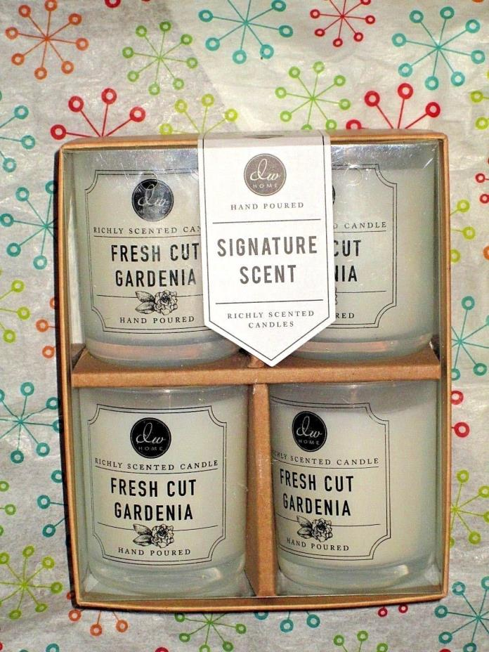 DW Home FRESH CUT GARDENIA Candles Boxed Gift Set 4X 3.8 oz. Jars