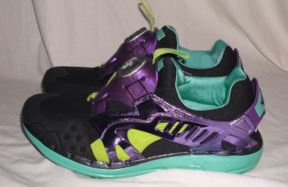 Puma Disc System Running Shoes Size 10 1/2 Black/Purple/Teal Brand New