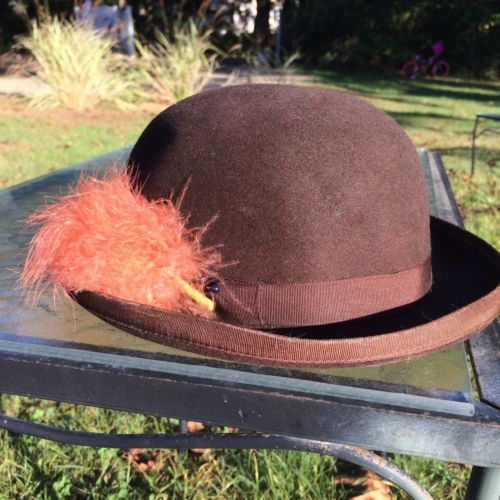 Over The Top Derby Hat Vintage Small Brown With Feathers Church