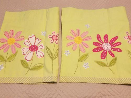 Pair Pottery Barn Kids Daisy Garden 2 Valances Green Pink Floral Flowers  44x18