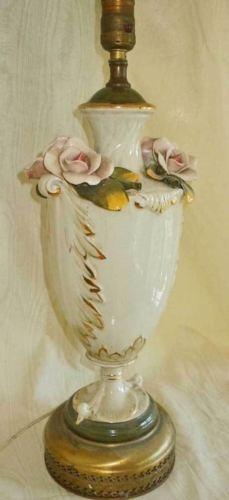 Vintage Capodimonte Porcelain Lamp Roses Flowers Pink Floral Regency Decor