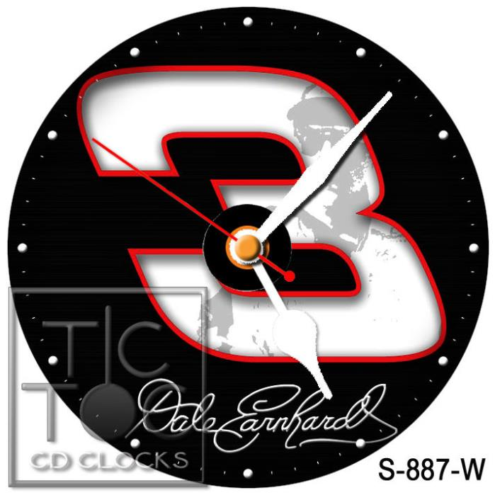 S-887-W CD CLOCK-DALE EARNHARDT#3-DESK OR WALL CLOCK-FAST FREE SHIPPING