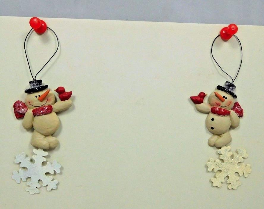 Set of 2 small ornaments with snowmen & cardinals - New Blossom Bucket #55097