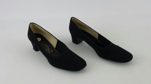 Vintage Socialites Women's Black Fabric Square Toe Pumps Size 10 1/2 S