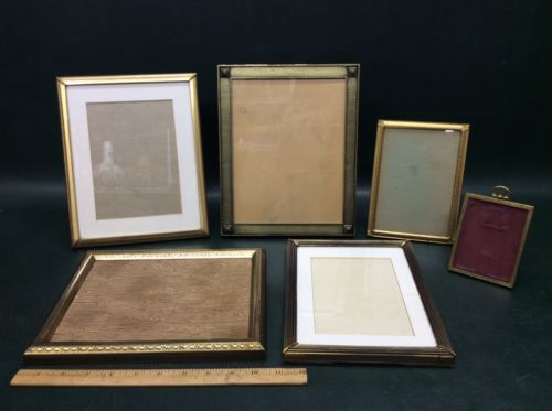 Lot of 6 Vintage Art Deco Brass Photo Picture Frames