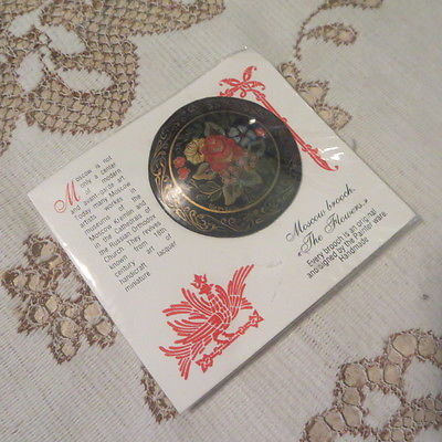 Signed Russian Lacquer Floral Brooch