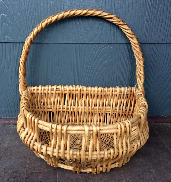 Nice Old Wicker cane? Half Basket