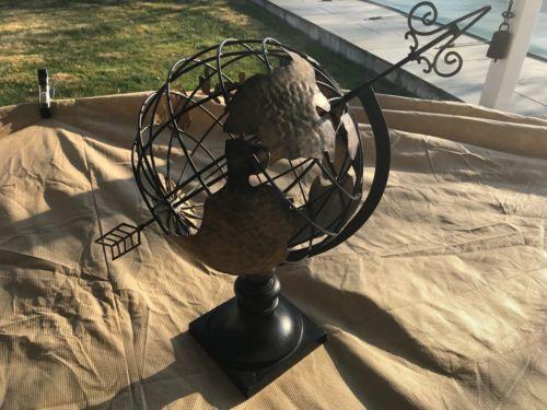 Vintage Display Wrought Iron Garden Arrow Globe Weather Vane Decor Art Armillary