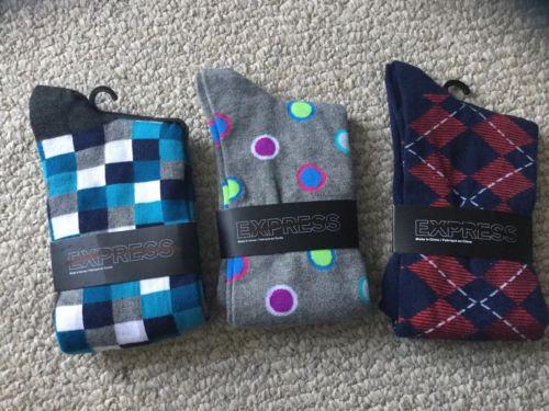NEW LOT 3 Express Blue Teal Purple grey red polka dots red Dress Socks Men's