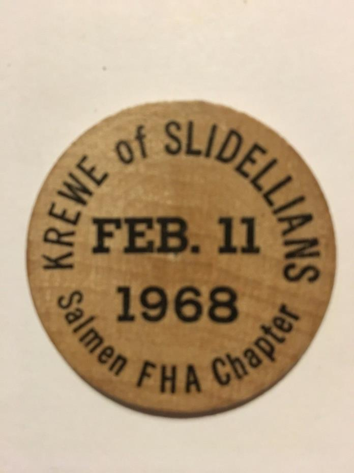 Vintage (Krewe of Slidellians 68) WOODEN Mardi Gras Doubloon#wg