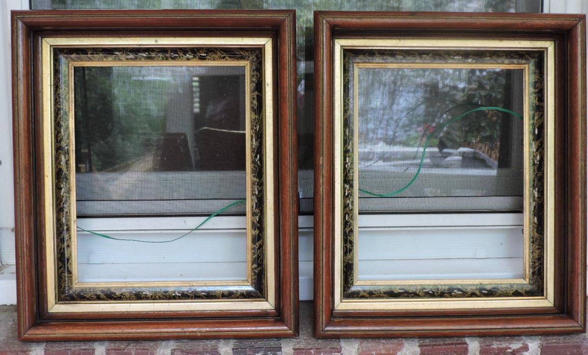 Eastlake VICTORIAN Walnut & Gold Gilt Black Marbelized PAIR Frames 8 x 10 c1880