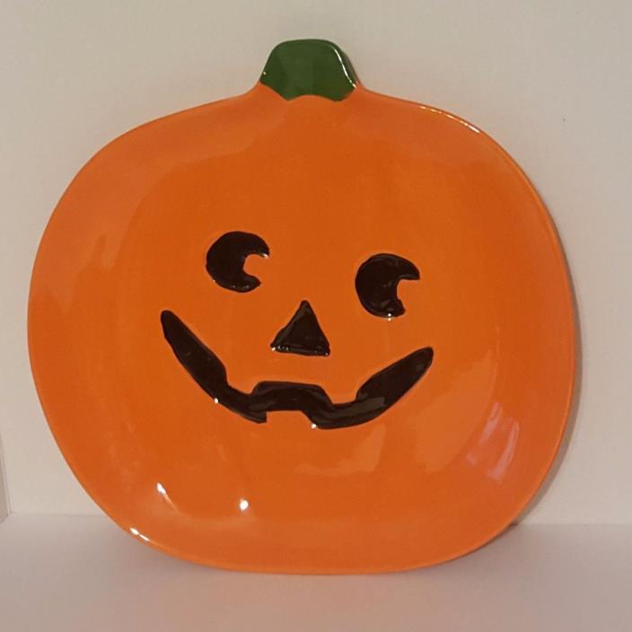Large Jack o' Lantern Platter Plate Pumpkin Halloween Serving Dish